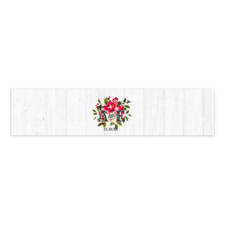 Rustic Winter Holly White Wood Wedding Monogram Napkin Band