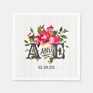 Rustic Winter Holly White Wood Wedding Monogram Paper Napkin