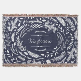 Rustic Winter Monogram Throw Blanket