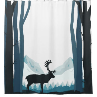Rustic Winter Nature Illustration Shower Curtain