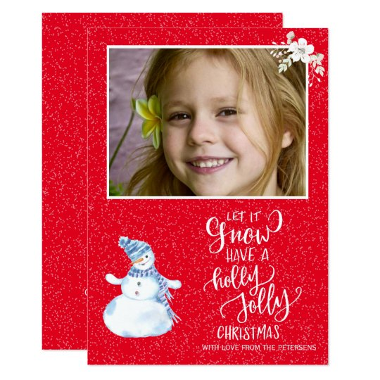 Rustic winter red white chalkboard snowman photo card