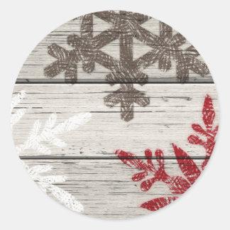 Rustic Winter Snowflakes Classic Round Sticker