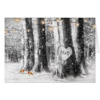 Rustic Winter Tree String Lights Evening Reception Card