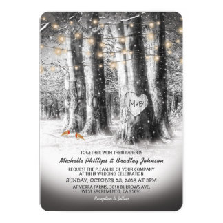 Rustic Winter Tree & String Lights Wedding Card