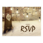 Rustic Winter Tree Twinkle Lights Wedding RSVP Postcard