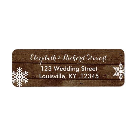 Rustic Winter Wedding Barn Wood Snowflakes Return Address Label