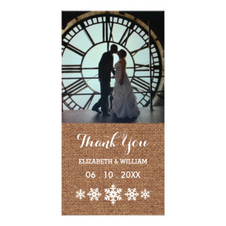 Rustic Winter Wedding Snowflakes Thank You Customised Photo Card