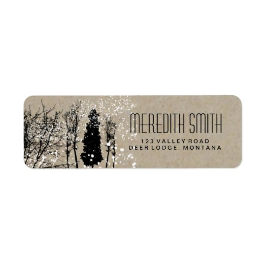 RUSTIC WINTER WEDDING TREE RETURN ADDRESS LABELS