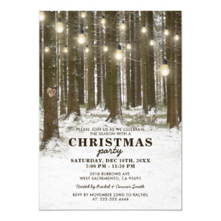 Rustic Winter Wonderland Christmas Holiday Party Card