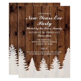 Rustic Winter Wood Trees New Years Day Eve Invite