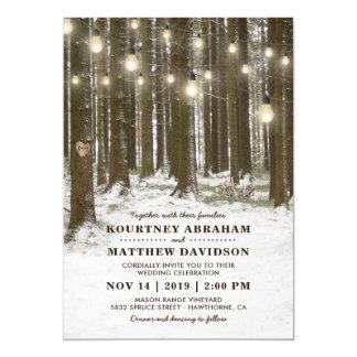 Rustic Winter Woodland Tree String Lights Wedding Card