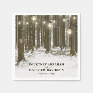 Rustic Winter Woodland Tree String Lights Wedding Disposable Napkin