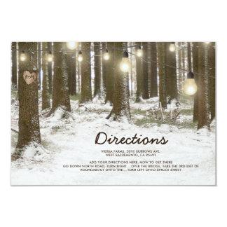 Rustic Winter Woodland Tree Wedding Directions Card