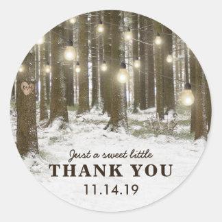 Rustic Winter Woodland Tree Wedding Favour Classic Round Sticker