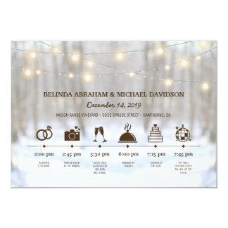 Rustic Winter Woodland Wedding Day Timeline Card