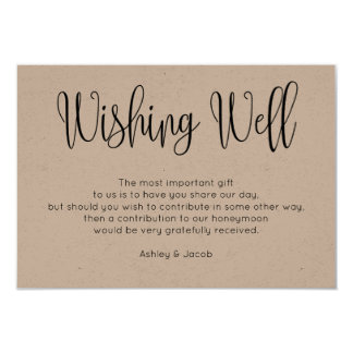 Rustic wishing well modern. Kraft wedding inserts Card