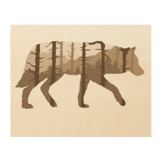 Rustic Wolf Outdoor Hiking Mountains Wood Art