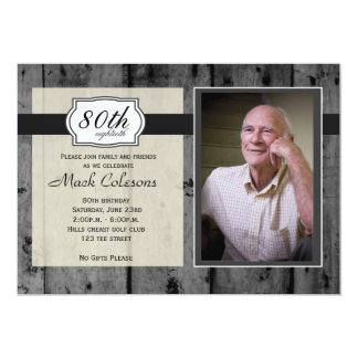 Rustic Wood Adult Male Birthday Invitation