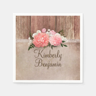 Rustic Wood and Burlap Floral Barn Wedding Paper Napkin