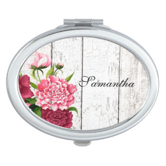 Rustic Wood and Flowers Compact Mirror