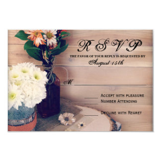 Rustic Wood and Flowers Wedding RSVP Cards