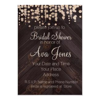 Rustic Wood and Golden Glitte Bridal Shower Invite