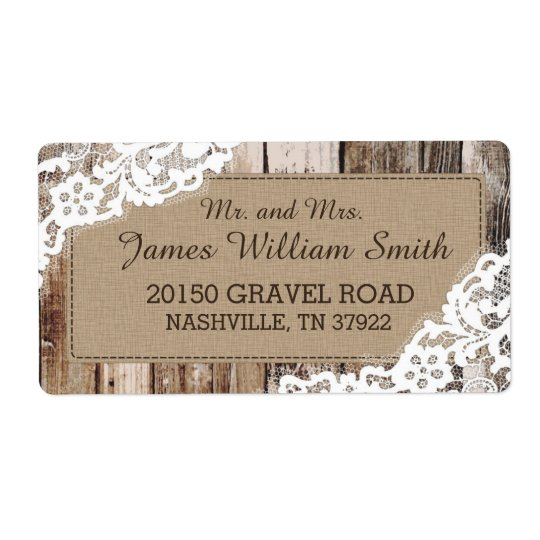 Rustic Wood and Lace Country Western Wedding Label