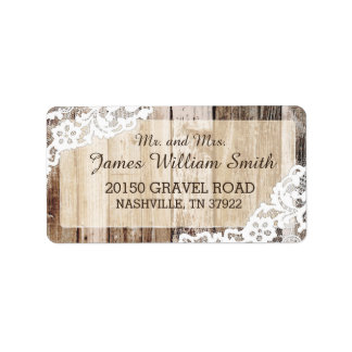 Rustic Wood and Lace Country Western Wedding Label Address Label