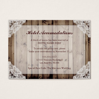 Rustic Wood and Lace Hotel Accommodations Business Card