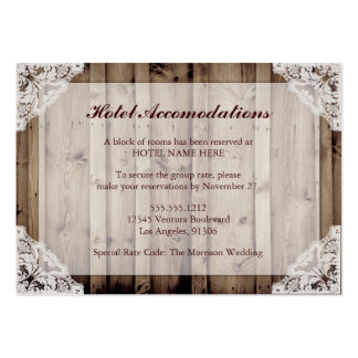 Rustic Wood and Lace Hotel Accommodations Pack Of Chubby Business Cards