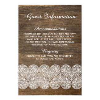 Rustic wood and lace information card