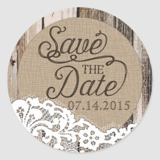 Rustic Wood and Lace Save the Date Label Round Sticker