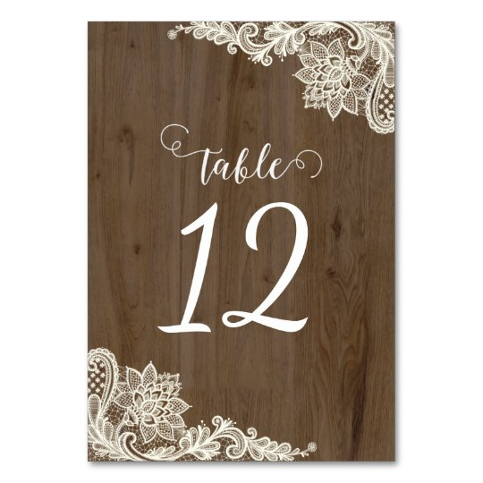 Rustic Wood and Lace Table Numbers Table Cards