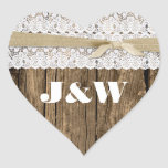 Rustic Wood and Lace Wedding Envelope Seal Heart Stickers