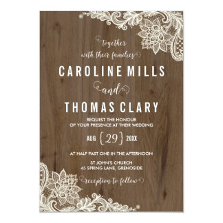 Rustic Wood and Lace Wedding Invitation