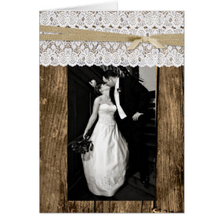 Rustic Wood and Lace Wedding Photo Thank You Card
