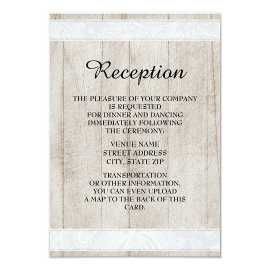 Rustic Wood and Lace Wedding Reception Invitation