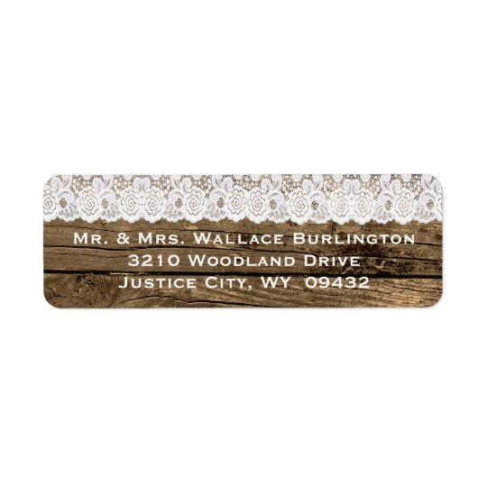Rustic Wood and Lace Wedding Return Address Return Address Label