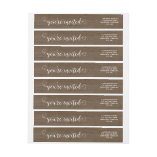 Rustic Wood and Lace Wraparound Wraparound Return Address Label