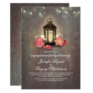 Rustic Wood and Lantern Barn Engagement Party Card
