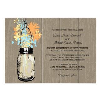 Rustic Wood and Mason Jar Wildflowers Invitation