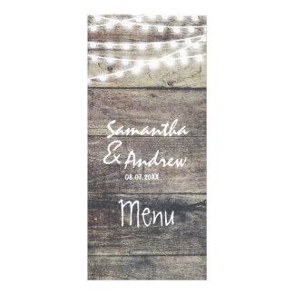 Rustic wood and string lights wedding menu