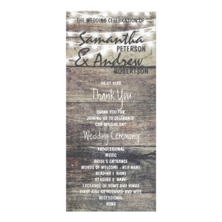 Rustic wood and string lights Wedding Program Rack Card
