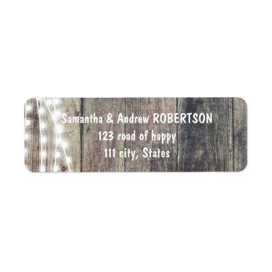 Rustic wood and string lights wedding return address label