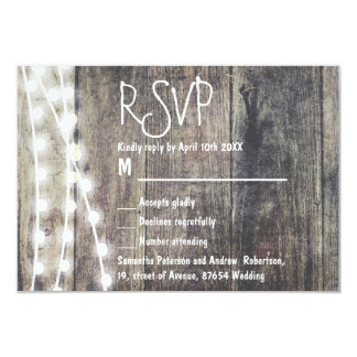 Rustic wood and string lights wedding RSVP Card