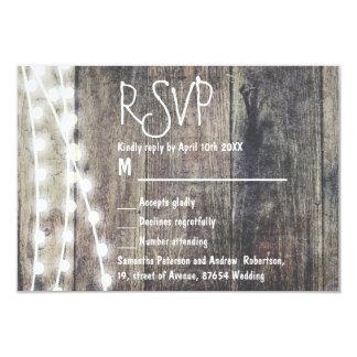 Rustic wood and string lights wedding RSVP 9 Cm X 13 Cm Invitation Card