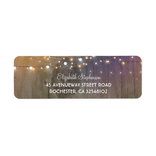 Rustic Wood and String of Lights Wedding Return Address Label
