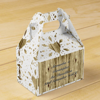 Rustic wood and white lace heart country wedding favour box