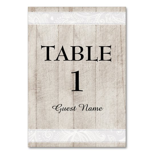 Rustic Wood and White Lace Reception Place Card
