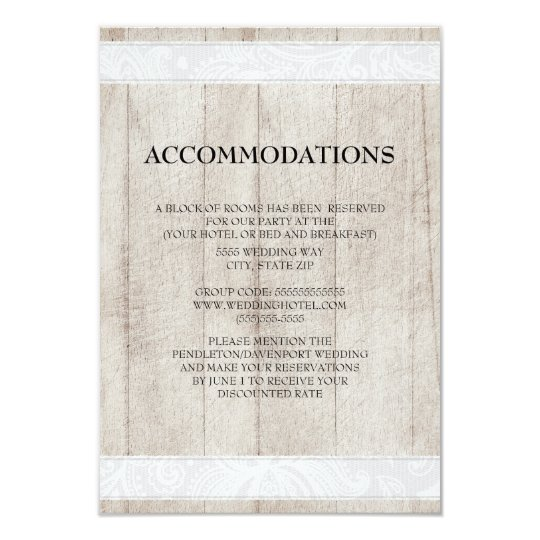 Rustic Wood and White Lace Wedding Accommodations Card